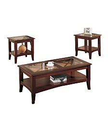 Wooden Table Set with Glass Top, Set Of 3