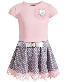 Blueberi Boulevard Little Girls Belted Embellished Dress