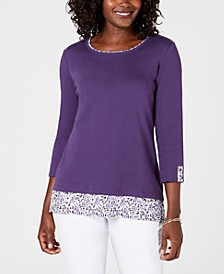 Petite Printed-Trim Top, Created for Macy's