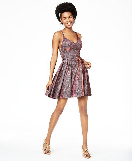 Sequin Hearts Juniors' Glitter Fit & Flare Dress