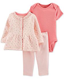 Carter's Baby Girls 3-Pc. Jacket, Bodysuit & Leggings Set