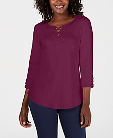 Cotton Crisscross-Trim Top, Created for Macy's