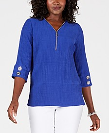 Quarter-Zip Crinkle Texture Top, Created for Macy's