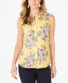 Linen Floral-Print Top, Created For Macy's