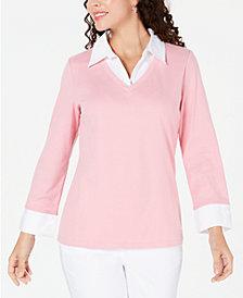 Karen Scott Cotton Layered-Look Sweater, Created for Macy's