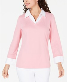 Karen Scott Petite Layered-Look Cotton Top, Created for Macy's