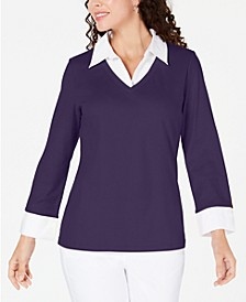 Cotton Layered-Look Sweater, Created for Macy's