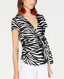INC Zebra-Print Wrap Top, Created for Macy's