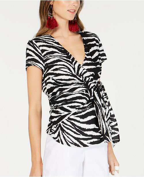 INC International Concepts INC Zebra-Print Wrap Top, Created for Macy's