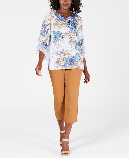 JM Collection Printed Top & Colored Capris, Created for Macy's