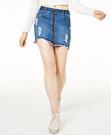 Waisted Zipper Jean Skirt