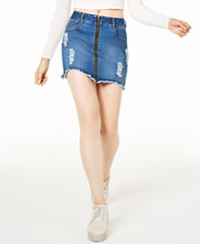 Waisted Zipper Jean Skirt