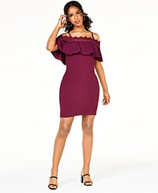 Juniors' Lace-Trim Off-The-Shoulder Dress
