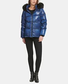 DKNY High-Shine Faux-Fur-Trim Puffer Coat