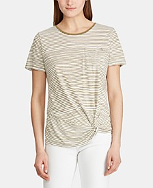 Petite Stripe-Print Twist-Hem Pocket T-Shirt