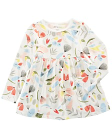 First Impressions Baby Girls Cotton Long-Sleeve Bird-Print Tunic, Created for Macy's
