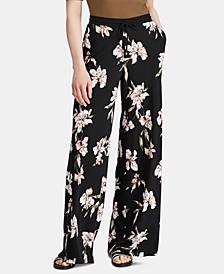 Petite Floral-Print Wide-Leg Jersey Pants