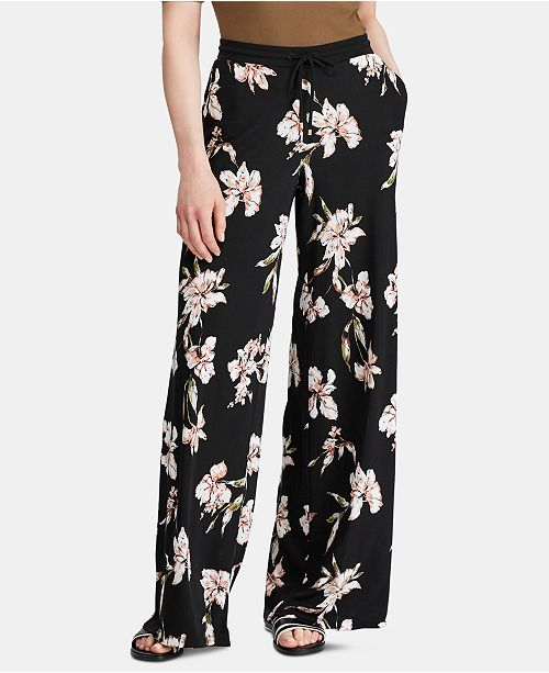 Lauren Ralph Lauren Petite Floral-Print Wide-Leg Jersey Pants