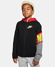 Big Boys Colorblocked Zip-Up Fleece Hoodie