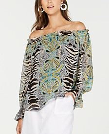 I.N.C. Off-The-Shoulder Zebra-Print Blouse, Created for Macy's