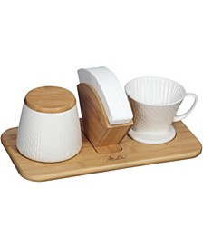 64136 Artisan Textured Porcelain Two Tone Oyster Grey Pour-Over Cone