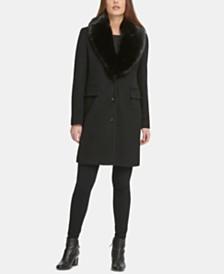 DKNY Single-Breasted Faux-Fur Shawl Collar Coat