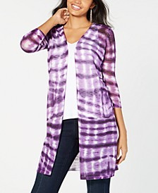 INC Tie-Dyed Cozy Cardigan, Created for Macy's