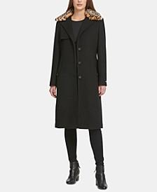 Leopard-Print Faux-Fur-Collar Coat