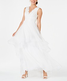Adrianna Papell Soutache Tiered Tulle Gown