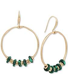 Gold-Tone Beaded Drop Large Hoop Earrings
