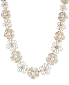 "Gold-Tone Crystal & Imitation Pearl Flower Strand Necklace, 16"" + 3"" extender"