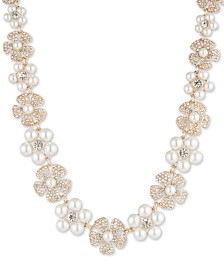 "Anne Klein Gold-Tone Crystal & Imitation Pearl Flower Strand Necklace, 16"" + 3"" extender"