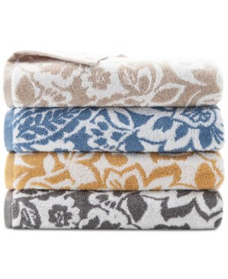 """Elite Scroll Paisley Cotton 13"""" x 13"""" Wash Towel, Created for Macy's"""
