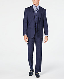 Michael Kors Men's Classic/Regular Fit Airsoft Stretch Blue Flannel Vested Suit Separates