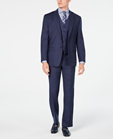 Michael Kors Men's Classic/Regular Fit Airsoft Stretch Blue Flannel Vested Suit Separates