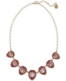 "Gold-Tone Stone Statement Necklace, 16"" + 2"" extender"