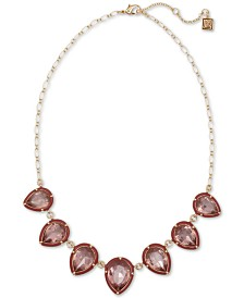 "Laundry by Shelli Segal Gold-Tone Stone Statement Necklace, 16"" + 2"" extender"