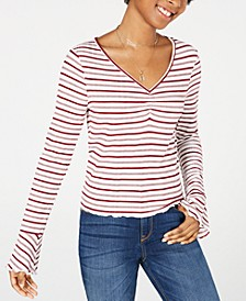 Juniors' Striped Bell-Sleeve Long-Sleeve T-Shirt, Created for Macy's