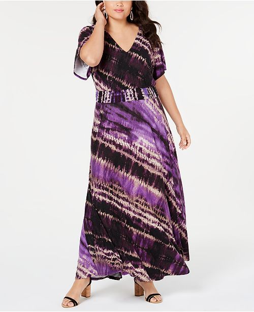 INC Plus Size Tie-Dyed Maxi Dress, Created for Macy\'s