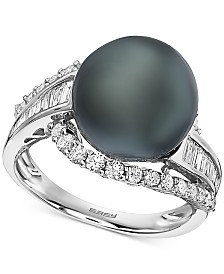 EFFY® Black Cultured Tahitian Pearl (12mm) & Diamond (3/4 ct. t.w.) Ring in 14k White Gold