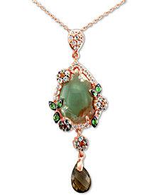 "Le Vian® Peacock Aquaprase (16 x 11mm) & Multi-Gemstone (1-9/10 ct. t.w.) 20"" Pendant Necklace in 14k Rose Gold"