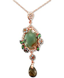 "Le Vian® Peacock Aquaprase (16 x 11mm) & Multi-Gemstone (1-9/10 ct. t.w.) 20"" Pendant Necklace in 14k Rose Gold"