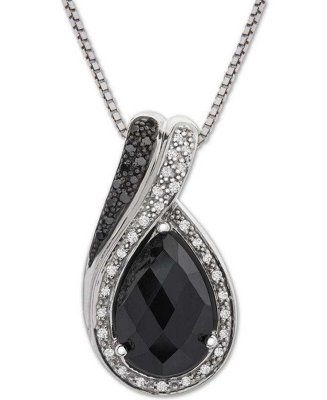 "Macy's Onyx (12 x 8mm) & Diamond (1/10 ct. t.w.) 18"" Pendant Necklace in Sterling Silver"