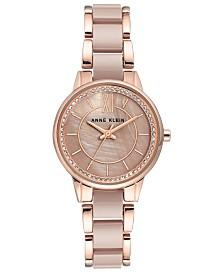 Anne Klein Women's Taupe Ceramic and Rose Gold-Tone Mixed Metal Bracelet with Swarovski Crystal Accents