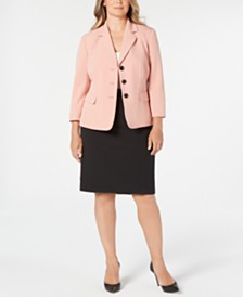 Le Suit Plus Size Triple-Button Skirt Suit