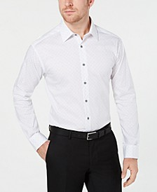 Alfani Men's AlfaTech Slim-Fit Performance Stretch Moisture-Wicking Wrinkle-Resistant Square Tile-Print Dress Shirt, Created for Macy's