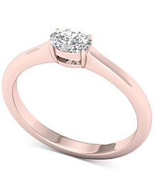 Diamond Oval Solitaire Ring (1/3 ct. t.w.) in 14k Rose Gold