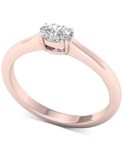 Macy's Diamond Oval Solitaire Ring (1/3 ct. t.w.) in 14k Rose Gold