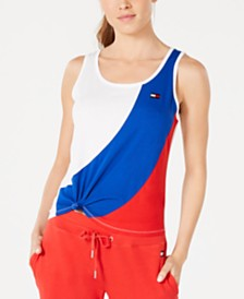 Tommy Hilfiger Sport Knotted Colorblock Sleeveless Top