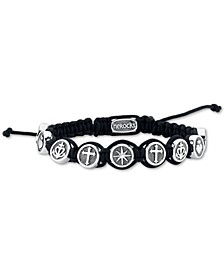 Black Cord Bracelet featuring Star, Fire Heart, Anchor, and Cross In Stainless Steel